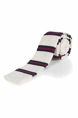 Moustard Striped Cotton Knitted Tie - Milky Way