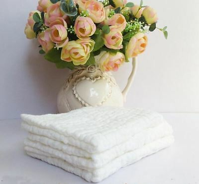 """10"""" L x 10"""" W Washcloths for Baby 100 % White Cotton Gauze Muslin Towel No-Dyes"""