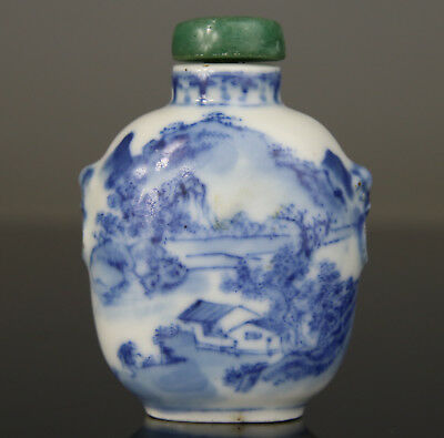 Antique Chinese Snuff Bottle Porcelain Blue White Qianlong Mark 18Th 19Th C.