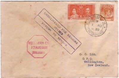 1938 Malay Singapore 8c stamps TANGLIN to New Zealand retour dead letter cover