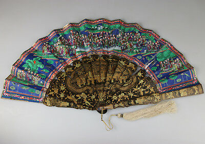 Antique Chinese Canton Export Gold Lacquer Painted Fan With Box 19Th C. Qing