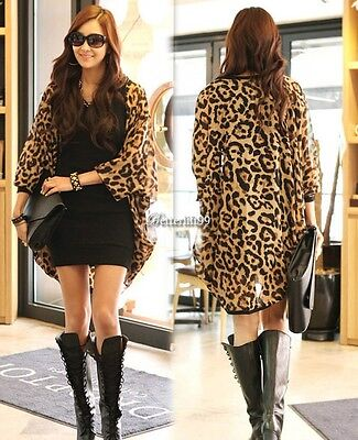 Womens Fashion Leopard Batwing Sleeve Loose Chiffon Jacket Tops Blouse Cardigan