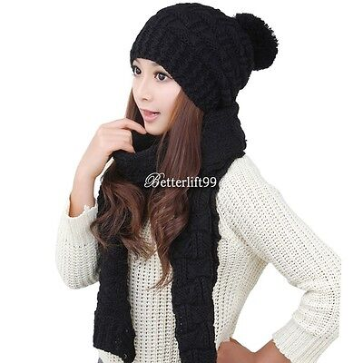 Scarf And Hat Set Womens Warm Knitted Beanie Scarves Knit Skullcaps Winter New