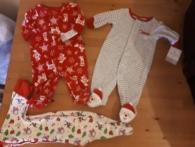 0-3 months Carter's and frugi christmas sleepsuits