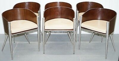 Set Of 6 Mid Century Modern Mahogany Bentwood Dining Chairs Solid Chrome Freames