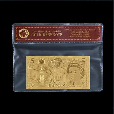 WR 2016 England New £5 Five Pound Note 24K GOLD Foil Banknote Collection /w COA