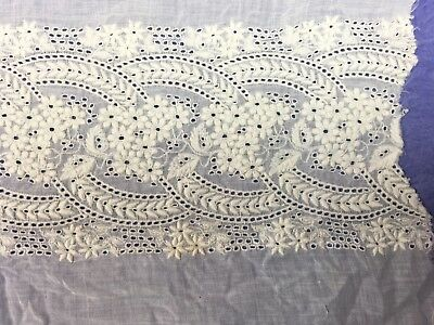 Antique Heavily Embroidered Eyelet Lace Panel Sheer Cotton Lawn B02-07