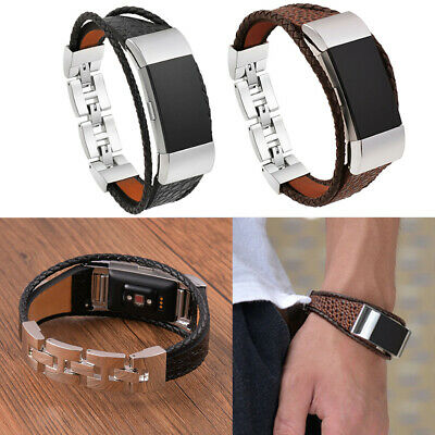 Leather Cord Wristband Band Bracelet Watch Strap Metal Clasp For Fitbit Charge 2