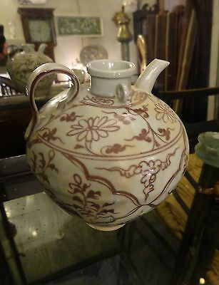 Coiled Yuan Dynasty Style Under glaze red porcelain ewer jug, crane, floral