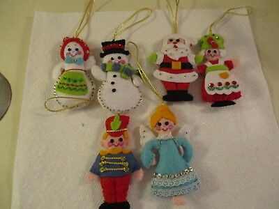 Vintage Felt Sequin Christmas Ornaments~Set Of 6