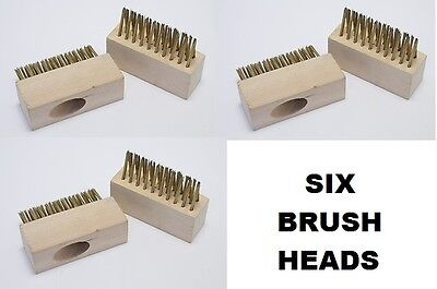 Garden Wire Brush Heads x 6 BLOCK PAVING SLAB WEED MOSS CLEANING BRUSHES HEAD
