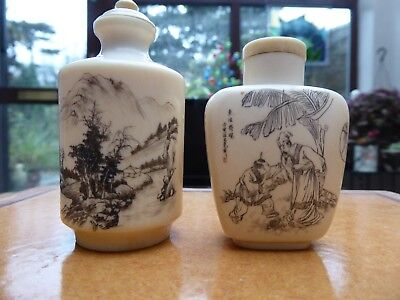 Two Vintage Chinese Bone Snuff Bottles