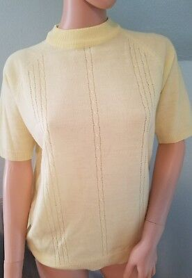 Vintage Pinup Yellow Acrylic Sweater Plus Size