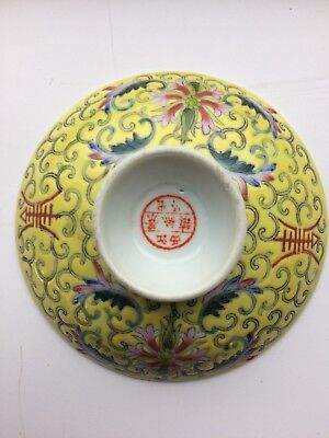 Early 20th Century Famille Rose Jaune Yellow Ground Porcelain Footed Dish