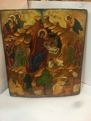 Antique Russian icon of nativity of Jesus Christ early 20TH Century