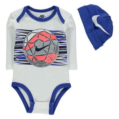 Baby Body + Beanie Nike Hat Football Geo Soccer White Blue Cotton Long Sleeves