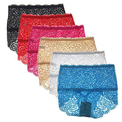 1 Or 4 Pack Ladies Sexy Lace Tummy Control Briefs High Waist Knickers,10-14