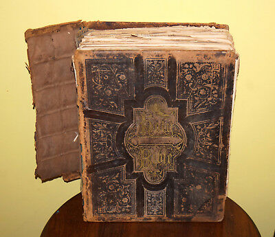 Antique 1872 Family Holy Bible & Reference Dictionary Old & New Testament