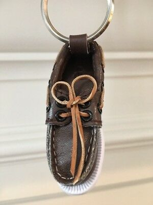 SPERRY Top Sider Brown Boat Shoe Key Chain Authentic Mini New NIP Ornament