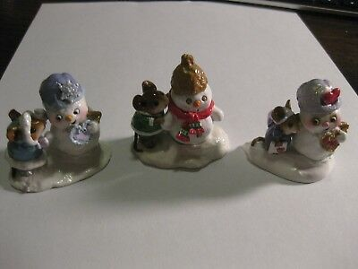 WEE FOREST FOLK - Christmas Snowmen - M-188, M-287 and Crystal & Snowman