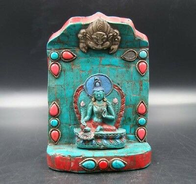 Handmade Carving Statue Buddha turquoise & Red Coral Inlaid Religion India NO.04