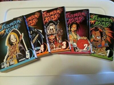 Shaman King Book Set 5pc good condition . Volumes 1 thru 3 are hardbound.