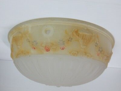 Vintage FROSTED GLASS Ceiling Lamp Shade Urn & Wreath