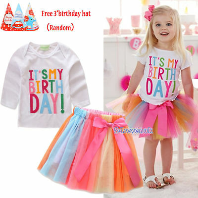 Baby Girls It's My Birthday Outfit Tutu Skirt Dress Colorful Cake Smash Party UK