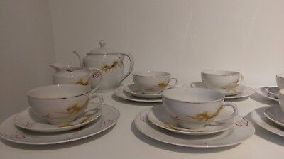 Vintage Japanese golden dragon hand painted 20 pieces Geisha Lithophane tea set