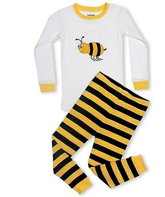 "Leveret Boys Girls ""Bumble Bee"" 2 Piece Pajama 100% Cotton (6M-14 Years)"