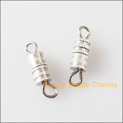 30 New Dull Silver Plated Tiny Fit Necklace Clasps Connectors 4x15mm