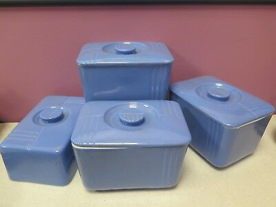 Vintage Hall Westinghouse Blue Covered Refrigerator Dishes/Butter Phoenix Lot