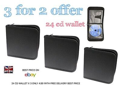 24 Cd Dvd Holder X3 Padded With Zipper Only 4.99 Free Delivery Best Price