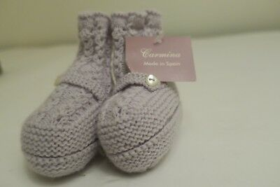 New Carmina Baby Knit Sock Booties Light grey Size 9 Months