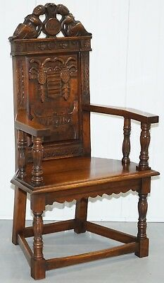 Rare Find William & Mary Ii 1662 Wainscot Armchair Solid Hand Carved Very Heavy