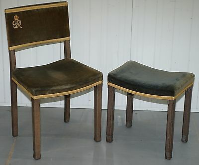 Exceptional 1937 King George Vi Coronation Chair Chair & Stool Fully Stamped