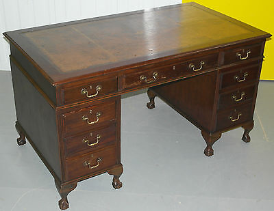 Vintage Queen Anne Twin Pedestal Partner Desk Claw And Ball Feet Brown Leather