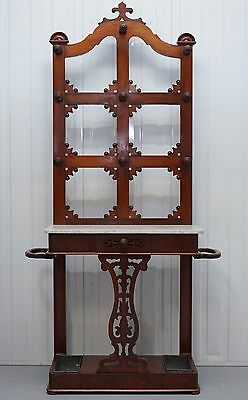 Solid Oak Victorian 1870 Coat Hat Umbrella Stand With Marble Top Console Table