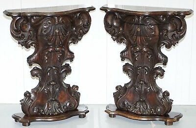 Stunning Pair Of Circa 1910 Hand Carved Walnut Side End Lamp Wine Tables