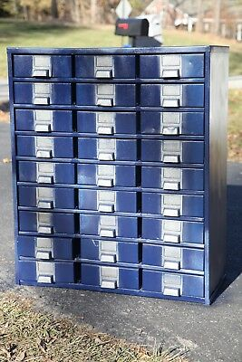 Blue Metal Cabinet with 27 drawers ~ Metal Parts/ Storage