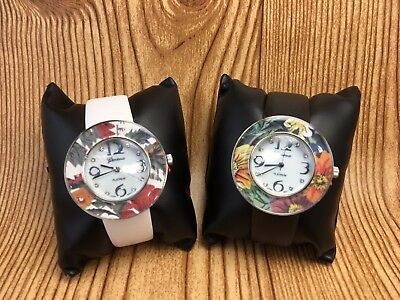 Geneva Ladies Crystal Mother Of Pearl Floral Watch Set, one white, one black