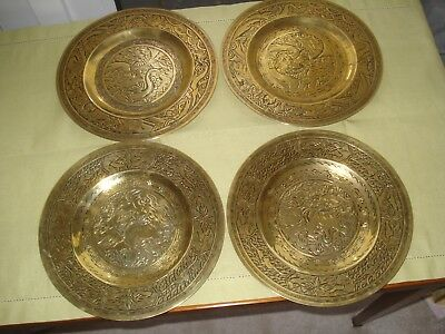 "4 X Antique Chinese Bronze Plates 10"" Imperial Dragon Dogs of Faux Signed"