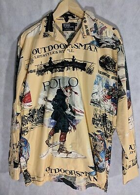 Polo Ralph Lauren Vintage Outdoorsman Big Graphic Shirt M Made In USA