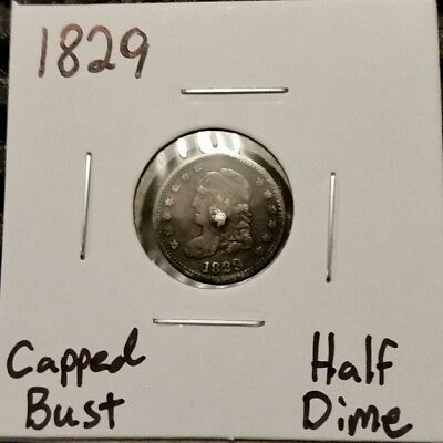 1829 Capped Bust Half Dime! 89% Silver!