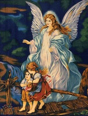Guardian Angel Panel, Children Crossing The Bridge With An Angel Cotton Fabric
