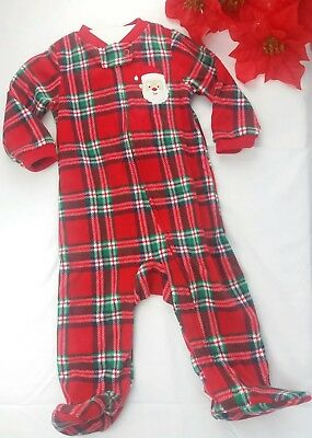 Carter's My Fist Christmas Baby Blanket Sleeper Red Plaid Santa Size 6-9 Months