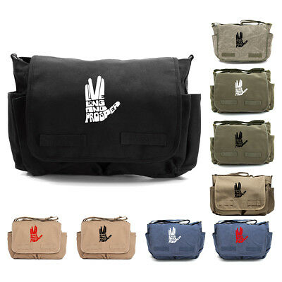 93b279dde9 Live Long and Prosper Hand Text Army Heavyweight Canvas Messenger Shoulder  Bag