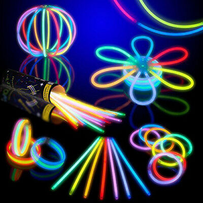 "150 Pcs 8"" Glow Sticks Bracelet Necklaces Neon Multi-Color Party Lights, Premium"