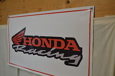 HONDA RACING SIGN BANNER Mechanic Shop Garage Cycle Motorcross LOGO AD