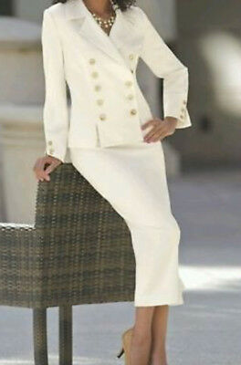 16 CREAM COLORED POWER skirt SUIT the Perfect Suit by Monroe and Main washable